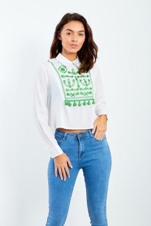 White Embroidered Tassel Embellished Shirt