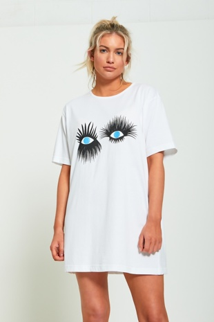 White Eyelash Print T-shirt Dress