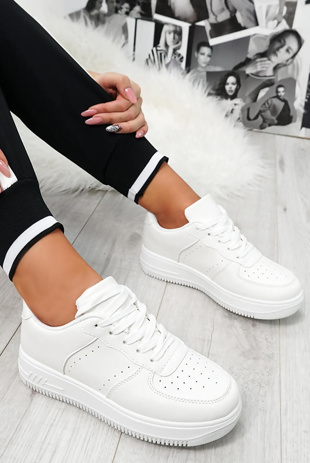 White Faux Leather Lace-Up Trainers