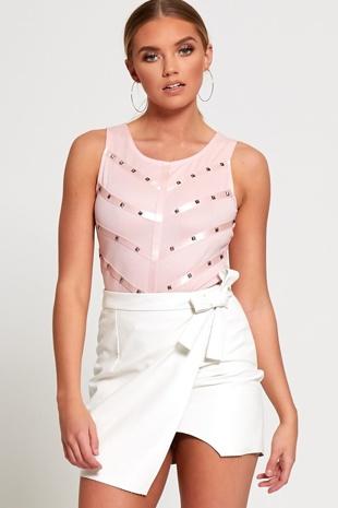 White Faux Leather Mini Skirt