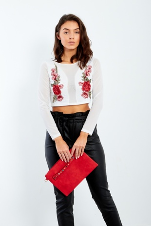White Floral Embroidered Crop Mesh Top