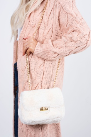 white faux fur shoulder bag