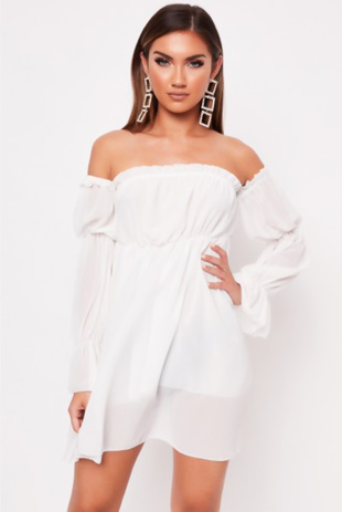 White Frill Bardot Dress
