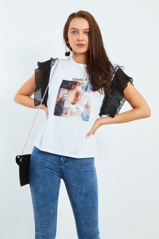 White Front Bow Frill Sleeve T-shirt