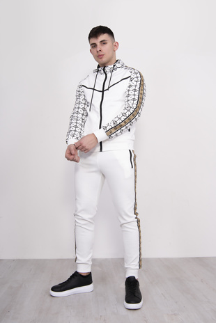 Mens White Geometric Printed Zip Up Tracksuit