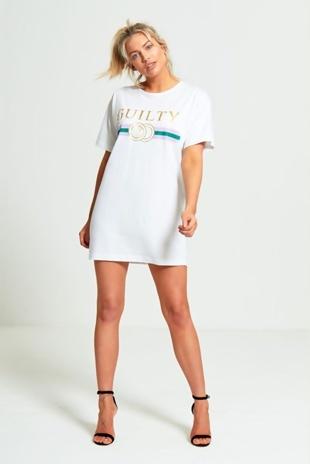 White Guilty T-shirt Dress