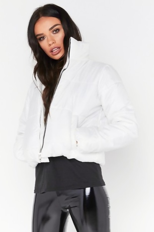 White High Neck Cropped Puffer Jacket