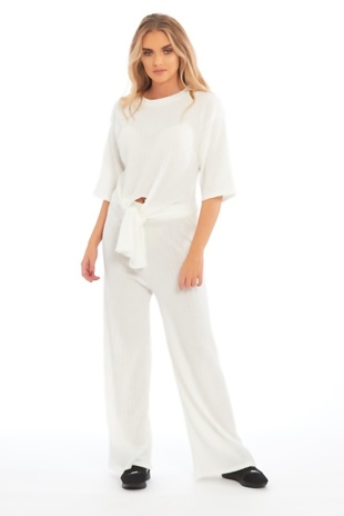 White Knot Front Top And Pants Set