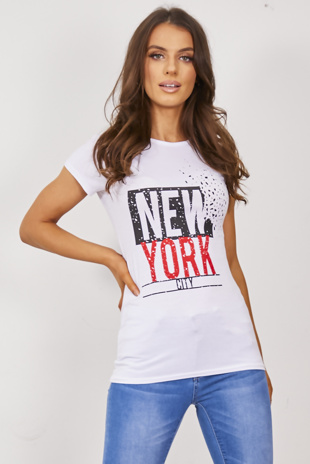 White New York City Print T-Shirt
