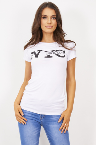White NYC Brooklyn Slogan T-Shirt