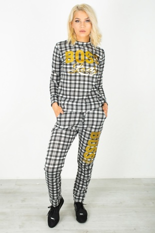 White Plaid Print Boss Lady Customized Tracksuit