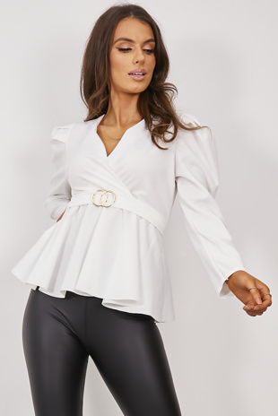 White Plunge Buckle Belted Blouse