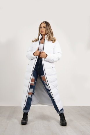 Plus White Maxi Longline Puffer Coat