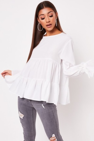 White Ruched Bow Long Sleeve Tiered Shift Top