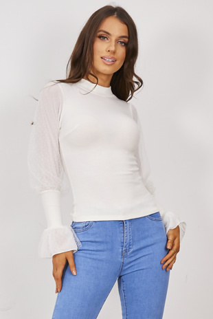 White Sheer Flounce Sleeve Ribbed Jumper