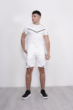 Mens White Chevron T-Shirt And Short Set