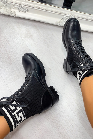 White Sock Insert Lace Up Ankle Boots