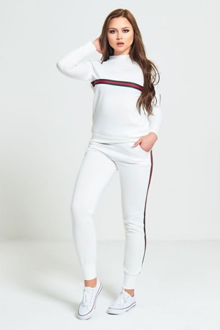 White Striped Loungewear Jogger Set