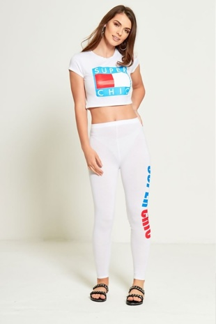 White Super Chic Loungewear Crop Top Jogger Set