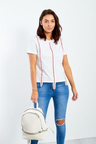 White Tape Stripe Detail T-Shirt