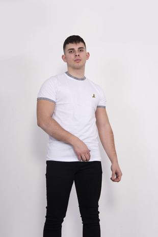 White Contrast Short Sleeve T-Shirt