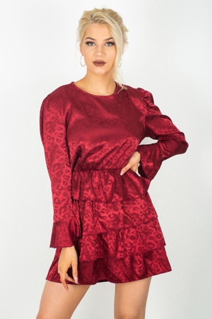 Wine Animal Print Ruffle Dress
