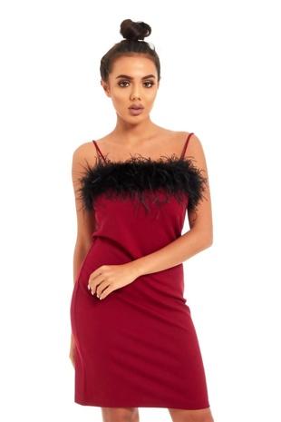 Wine Black Fur Trim Mini Dress