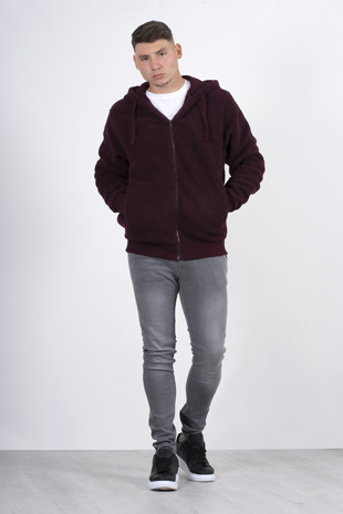 Mens wine zip up hooded teddy jacket