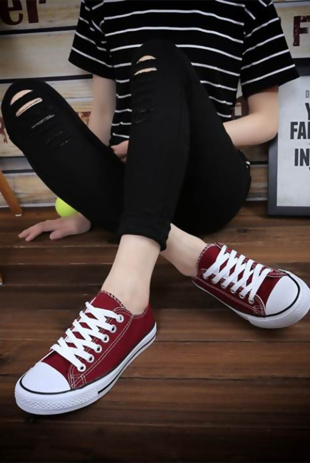 Wine Canvas Stripe Sole Flat Trainers