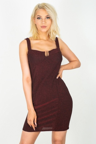 Wine Glitter Bralet Bodycon Dress