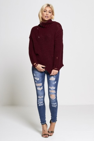 Wine High Neck Frayed Knitted Jumper