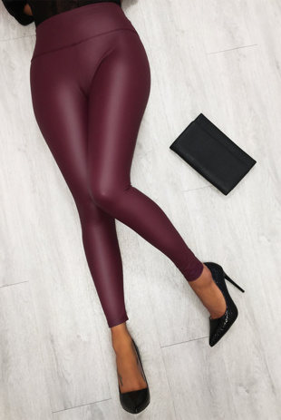 Wine High Waist PU Look Leggings