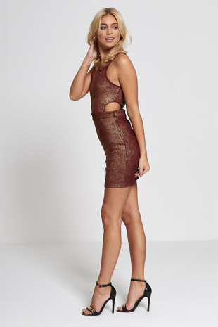 Wine Metallic Cut Out Side Bodycon Dress