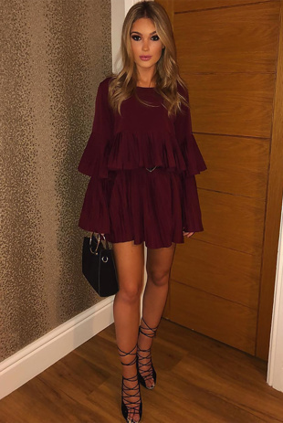 Wine Pleated Ruffle Mini Dress