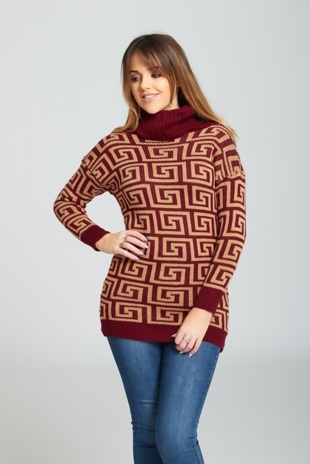 Wine Roll Neck Pattern Detail Jumper