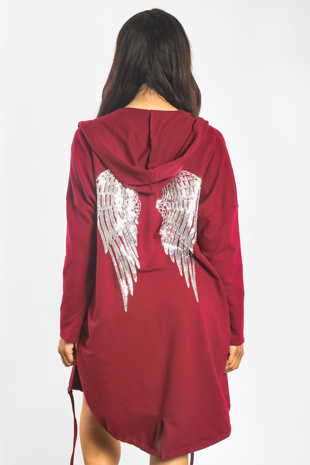 Wine Sequin Angel Wings Hooded Cardigan