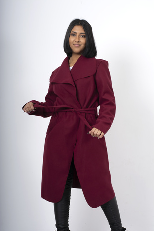 Wine waterfall duster jacket