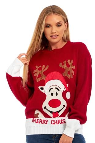 Womens Suede Naughty Reindeer Merry Christmas Jumper