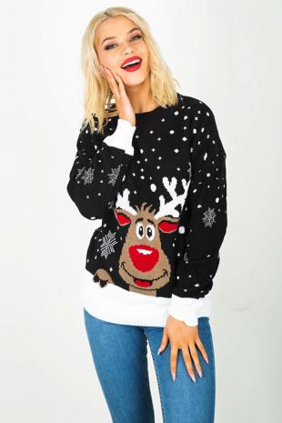 Black Reindeer Knitted Christmas Jumper