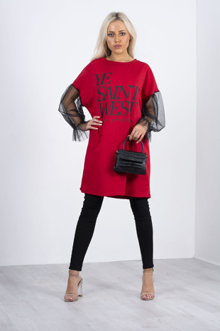 Red Slogan Mesh Sleeve T-Shirt Dress