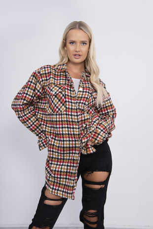 Red Brushed Oversized Checked Shirt