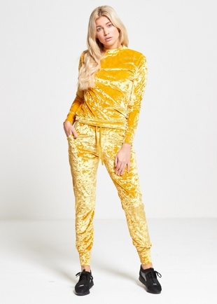 Yellow Crushed Velvet Lounge Wear Jogger Set