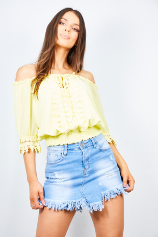 Yellow Floral Crochet Trim Bardot Top