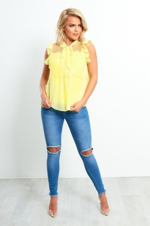 Yellow Frill Bow Collar Blouse