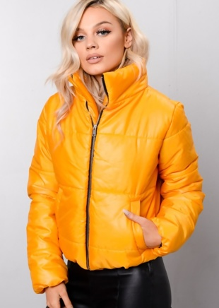 Yellow High Neck Cropped Puffer Jacket