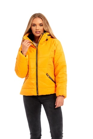 Yellow High Neck Padded Puffer Jacket