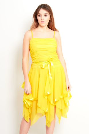 Yellow Layered Ruffle Prom Dress