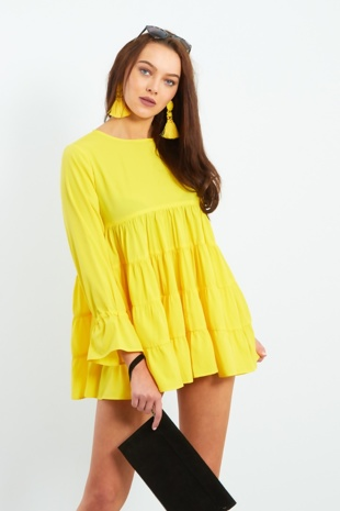 Yellow Long Sleeve Tiered Frill Dress