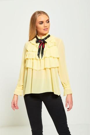 Yellow Ruffle Broach Blouse