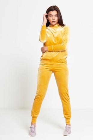Yellow Velour High Neck Loungewear Jogger Set